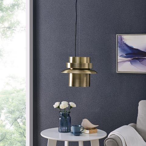 Carson Carrington Allaway Midcentury Modern Antique Brass Pendant Light