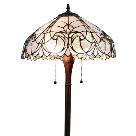 """Tiffany Style Floor Lamp Jagged Edge Standing 62"""" Tall Stained Glass White Baroque Bedroom Reading AM205FL18B Amora Lighting"""