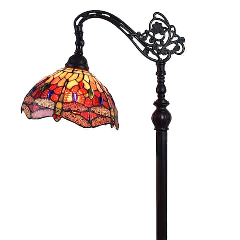 """Tiffany Style Floor Lamp Arched Adjustable 62"""" Tall Stained Glass Dragonfly Bedroom Reading Gift AM079FL10B Amora Lighting"""
