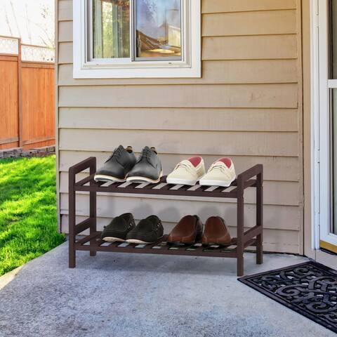 Furinno Alder Pine Solid Wood 2-Tier Shoe Rack