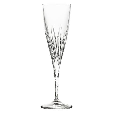 10 Strawberry Street Fluente 6 Oz Champagne Flute Crystal Glass, Set of 6