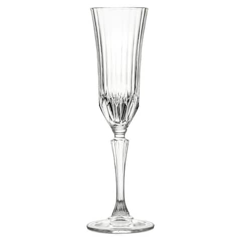 10 Strawberry Street Adagio 5 Oz Champagne Flute Crystal Glass, Set of 6
