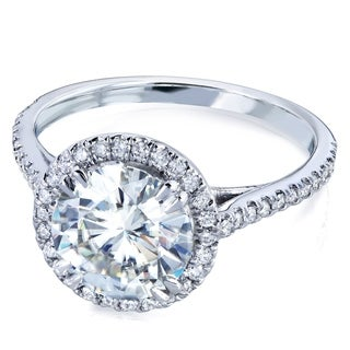 Annello By Kobelli 14k White Gold Round 8mm Forever One Moissanite And Diamond Halo Engagement Ring 2 1 6 CTW