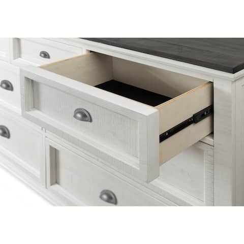 Martin Svensson Home Monterey 2 Drawer Nightstand, White and Grey Stain