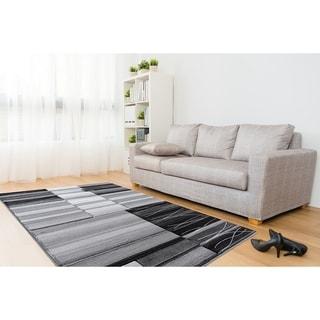 Glamour Dark Grey/Black Polypropylene Area Rug