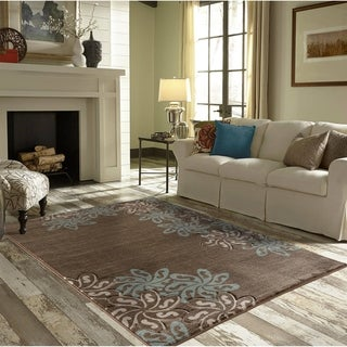 Glamour Brown/Turquoise Polypropylene Area Rug