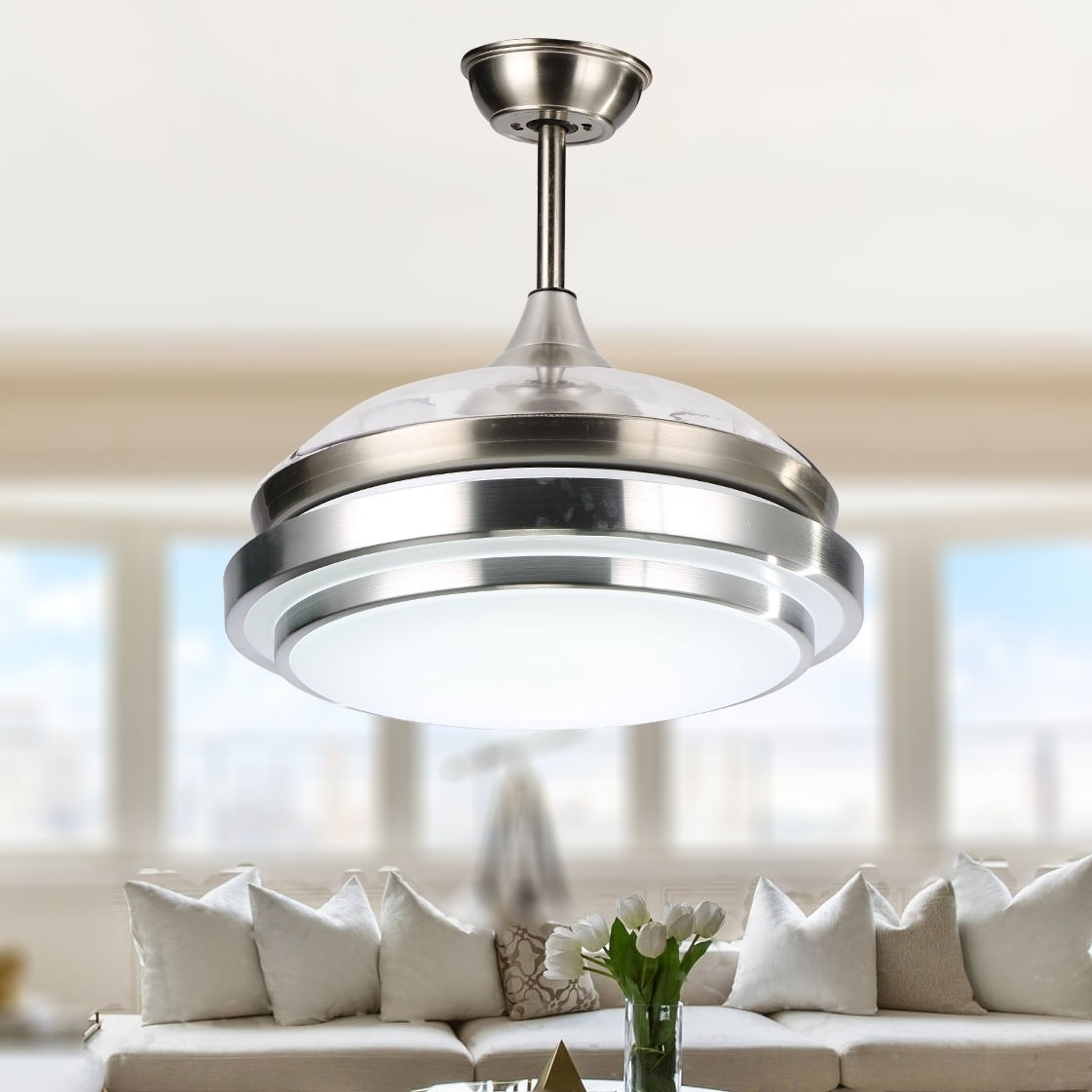Lxn 22 Modern Chandelier Ceiling Fan For Living Room Bedroom With Led Light Kit And Remote Control Invisible Ceiling Fan Light Three Color Dimmable Eventerservice Com