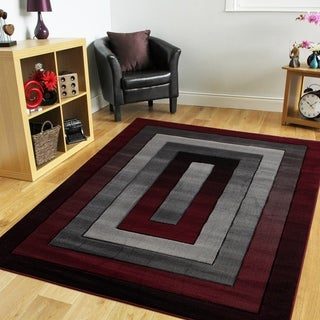 Orelsi Grey/Red Polyester Area Rug