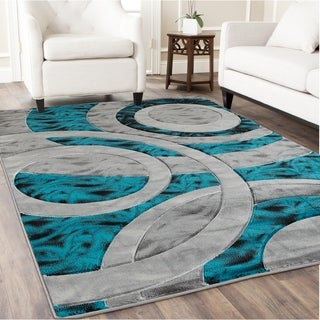 Copper Grove Allendorf Turquoise and Grey Geometric Area Rug