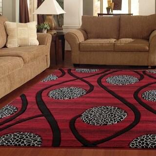 Orelsi Red/Black Polyester Area Rug
