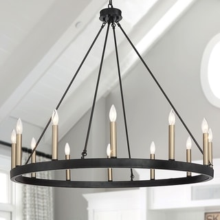 Vanity Art 12 Lights Wagon Wheel Chandelier Light Fixtures Farmhouse Candle for Living Room