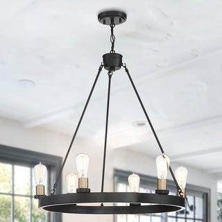 Link to The Gray Barn Highclere 6-light Wagon Wheel Farmhouse Chandelier Similar Items in Chandeliers