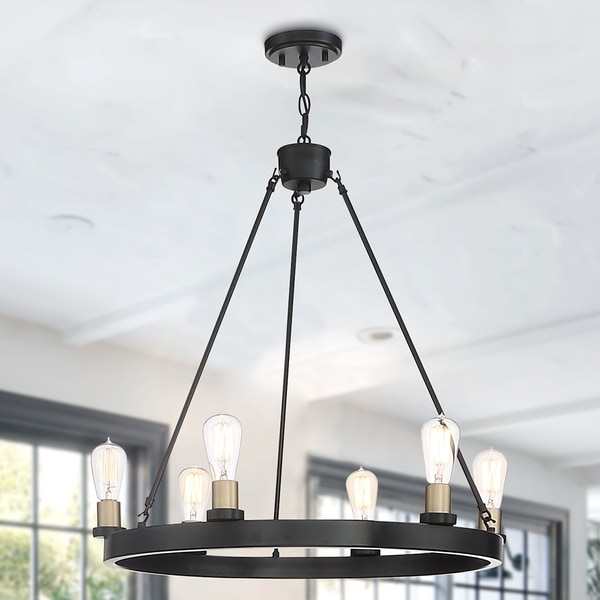 The Gray Barn Highclere 6-light Wagon Wheel Farmhouse Chandelier. Opens flyout.