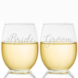 Bride and Groom Script 21-ounce Stemless Wine Glass (Set of 2)