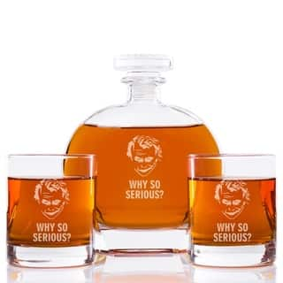 Joker - Why So Serious? Engraved Puccini Glass Decanter with Rock Glasses (Set of 3)