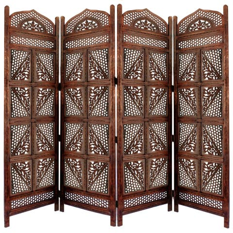 Traditional Four Panel Wooden Room Divider with Hand Carved Details, Antique Brown