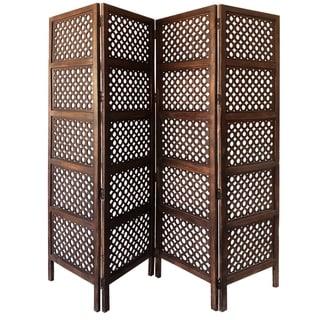 Decorative Four Panel Mango Wood Hinged Room Divider with Circular Cutout Design, Brown