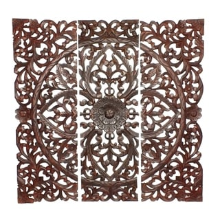 Three Piece Wooden Wall Panel Set with Traditional Scrollwork and Floral Details, Brown