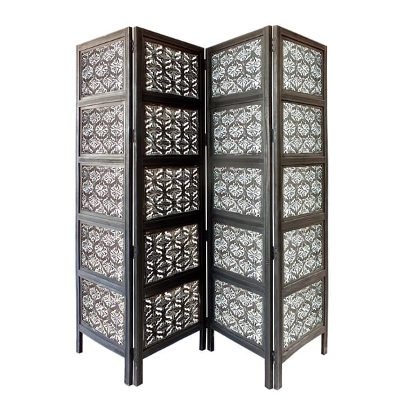 4 Panel Mango Wood Room Divider with Traditional Carvings, Black and White