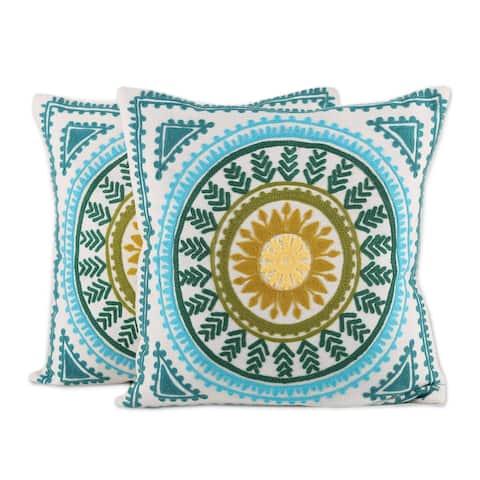 Handmade Mandala Glory Cushion Cover, Set of 2 (India)