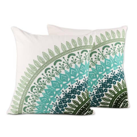 Handmade Divine Orchard Cushion Cover, Set of 2 (India)