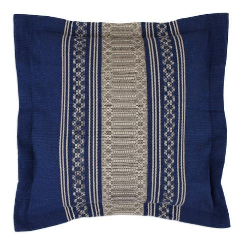 Handmade Royal Blue Temptation Zapotec Cotton Cushion Cover (Mexico)