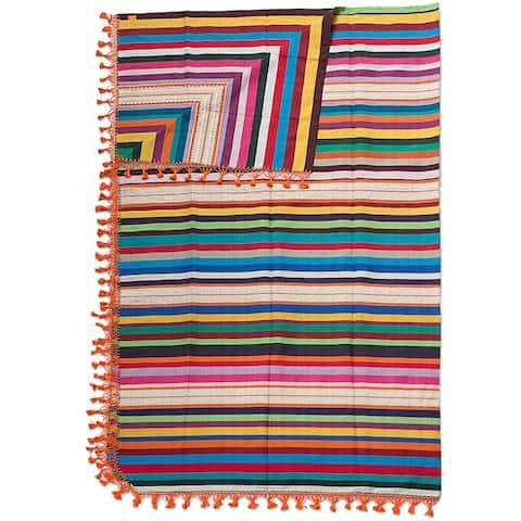 Handmade Zapotec Sunset Cotton Blanket (Mexico)