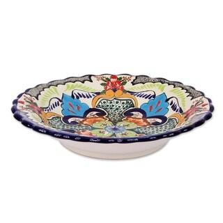 Blue Teziutlan Ceramic Serving Bowl