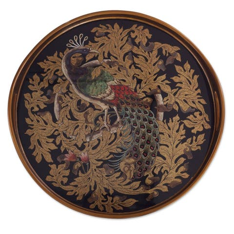 Mystic Peacock In Gold Reverse-Painted Glass Tray