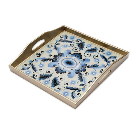 Celestial Paradise Reverse-Painted Glass Tray