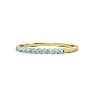 TriJewels Aquamarine 10 Stone Wedding Band 0 17 Carat Tw 14KY Gold