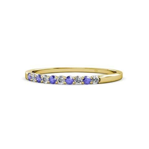 TriJewels Tanzanite and Diamond Wedding Band 0.29 ctw 14KY Gold