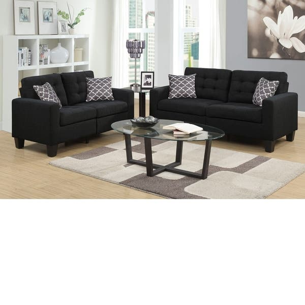 Bateson Black 2 Piece Tufted Sofa