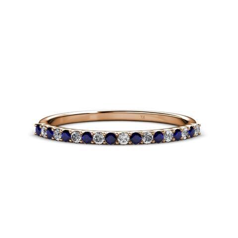 TriJewels Sapphire & Diamond 18 stone Wedding Band 0.28 ctw 14KR Gold