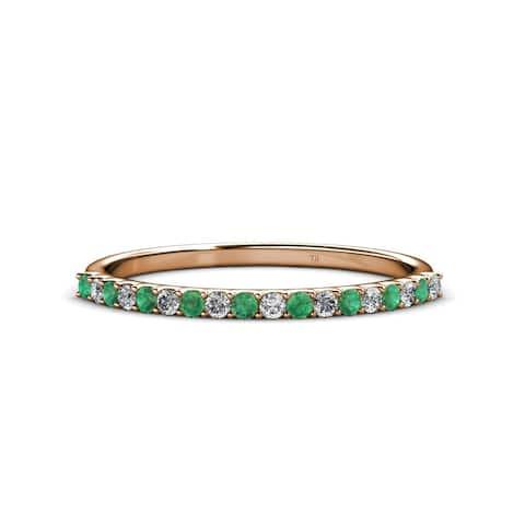 TriJewels Emerald & Diamond 18 stone Wedding Band 0.25 ctw 14KR Gold