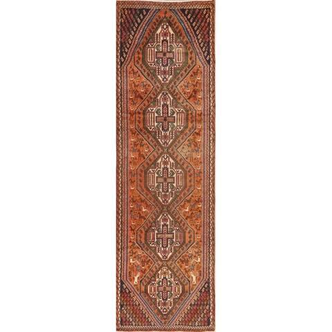 Vintage Animal Pictorial Shahrbabak Persian Runner Rug Handmade