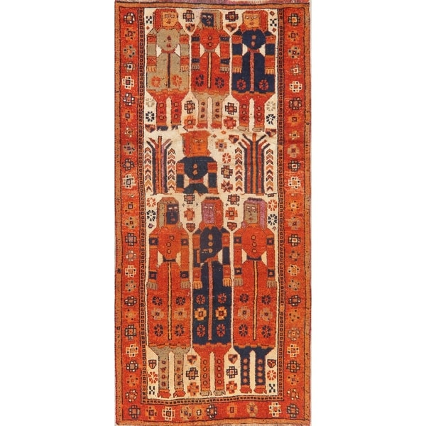 Antique Orange Pictorial Lori Persian Runner Rug Handmade