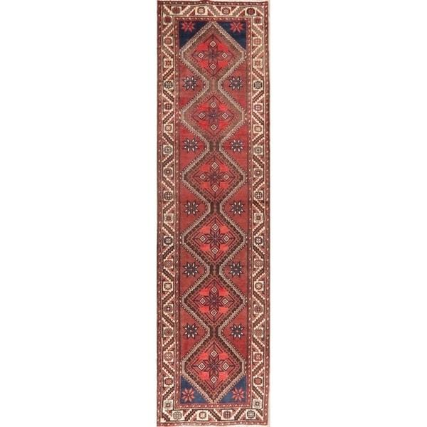 Vintage Geometric Red Hamedan Persian Runner Rug Handmade