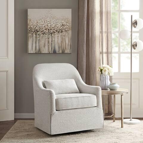 Madison Park Doane Ivory/Black Swivel Glider Chair