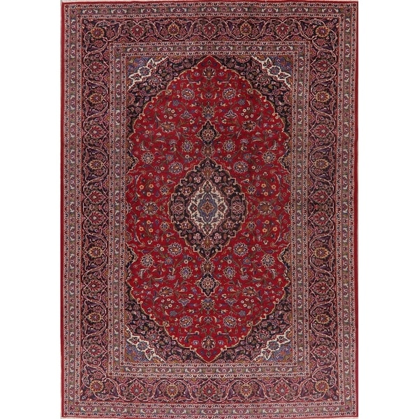 Traditional Floral Kashan Persian Area Rug Handmade