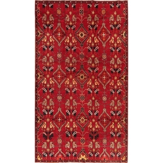 Vintage All-Over Red Bakhtiari Persian Area Rug Handmade