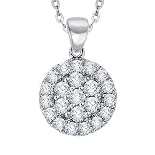14K White Gold 1 3ct TDW Diamond Cluster Pendant G H I2 I3
