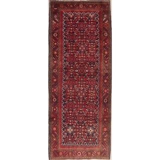 Navy Blue Geometric Hamedan Persian Runner Rug Handmade