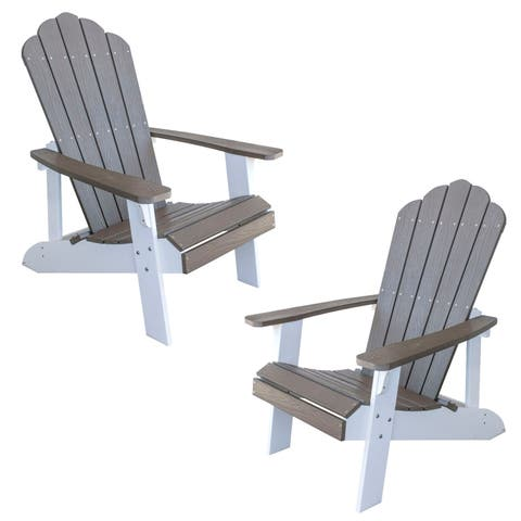 AmeriHome Simulated Wood Outdoor 2 Tone Adirondack Chair, Driftwood with White Accents - 2 Piece Set
