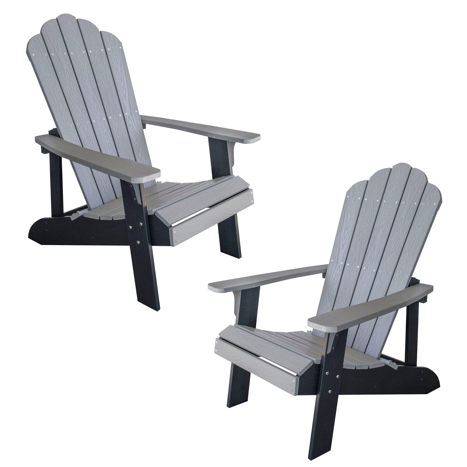 Remarkable Offex Simulated Wood Outdoor 2 Tone Adirondack Chair Gray With Black Accents 2 Piece Set Gamerscity Chair Design For Home Gamerscityorg