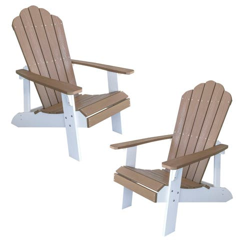 AmeriHome Simulated Wood Outdoor 2 Tone Adirondack Chair, Tan with White Accents - 2 Piece Set
