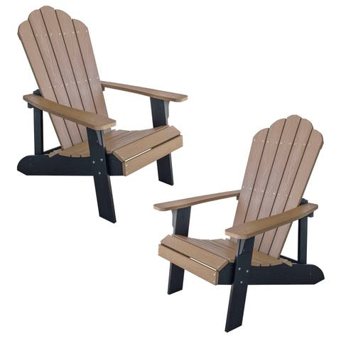 AmeriHome Simulated Wood Outdoor 2 Tone Adirondack Chair, Tan with Black Accents - 2 Piece Set