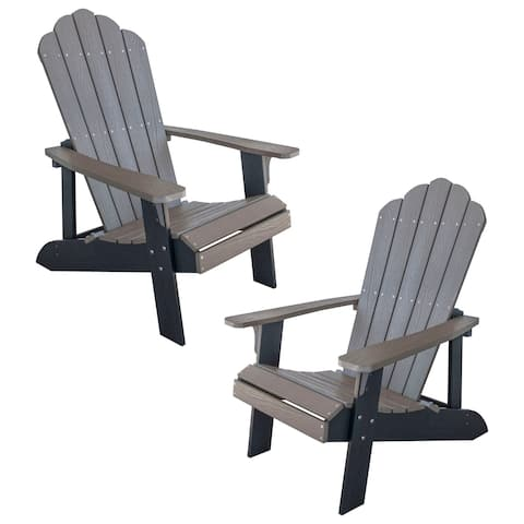 AmeriHome Simulated Wood Outdoor 2 Tone Adirondack Chair, Driftwood with Black Accents - 2 Piece Set