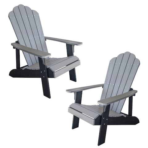 AmeriHome Simulated Wood Outdoor 2 Tone Adirondack Chair, Gray with Black Accents - 2 Piece Set