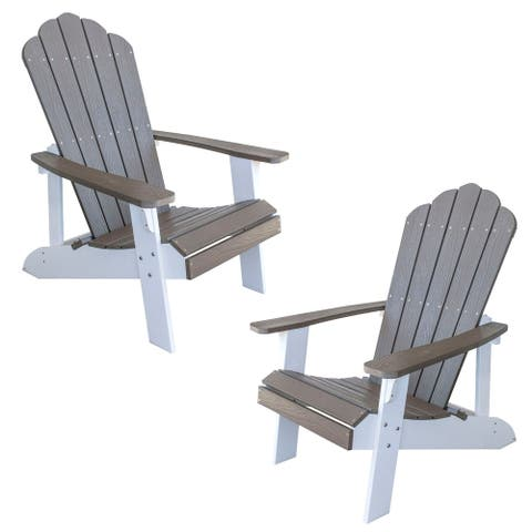 Offex Simulated Wood Outdoor 2 Tone Adirondack Chair, Driftwood with White Accents - 2 Piece Set